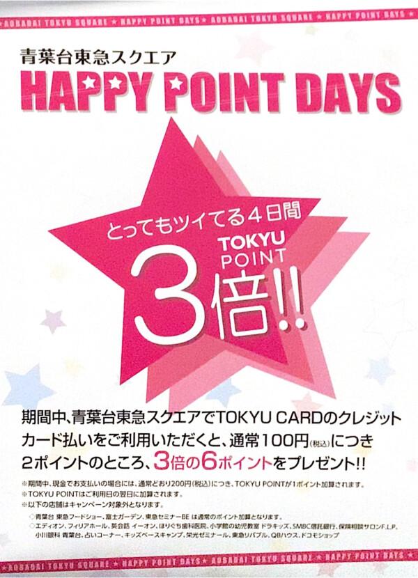 ☆20日から23日までの4日間☆TOKYUポイント3倍デー(о´∀`о)